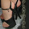 PLAYGIRL'S BLACK SPIKE HIGH HEEL SHOES.