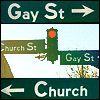 church, gay, traffic sign