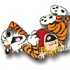 Calvin and Hobbes laughing