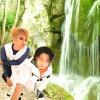 Teru and Jiro by a Waterfall by nitanita