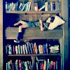Attie the Penguin: misc - kid in a bookshelf