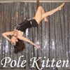 Pole Kitten arching on pole