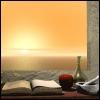 sunrise, window, book
