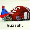 Ice Badger: celebratory goalie
