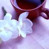 tea with flowers on tatami