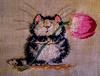 кот с тюльпаном