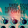 icon needs lots of coffee