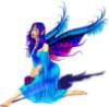 blue wings/purple hair
