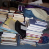 books, thinking, mess