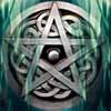 The owner of a grey cat: green celtic pentacle