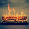 olorwen: NaNo burning keyboard (nucleicacid)