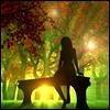 tree, sun, girl, nature