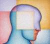 голова разделенная на четыре цветных ква