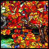 autumn, stained glass, Tiffany