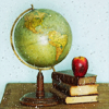 books retro globe book apple