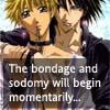 the bondage and sodomy will begin moment