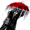 Heroes-Red umbrella in the rain