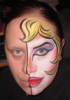 blonde, face paint, pinup, half face