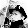 black and white ohno with umbrella