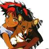 деваочка с собакой
