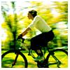 Woman-girl riding bike