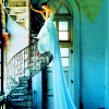 Blue dress staircase