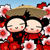 Mark: girls in flowers with parasol