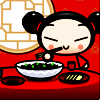 Mark: girl eating with chopsticks