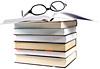 glasses, books