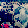 boy born without eyes reads with hands