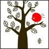 red bird in black tree