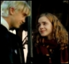 smiling, draco in midair, happy hermione