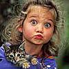 girl fishy face & a kitty