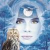 moon, owl, girl