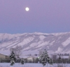 The magpie's nemesis: Moonrise over the mountains
