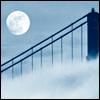 fog, full moon, bridge