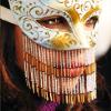 golden-eyed stranger, beaded fringe, I hide behind a mask.