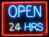 open24hours neon sign