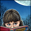 girl reading with moon