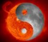 yin yang on fire