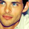 James' blue eyes