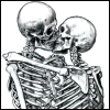 morbid, skeletons, kissing