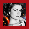 Princess Grace/red framed bw
