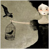 black haired girl & bird cages