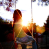 swing and sunset