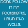 don't follow in my footsteps, I run into walls