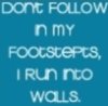 footsteps into walls
