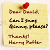 Alexander Josephine: HP: Dear David {Harry Potter}
