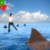 woman shark balloon