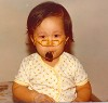 Baby Drea with pipe